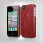 SGP Leather Genuine Leather Grip Series dėklas iPhone 4S/4 - Raudonas