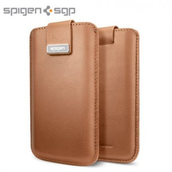 SGP Crumena Leather Pouch dėklas iPhone 5 - Rudas